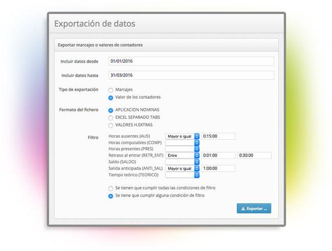 Módulo exportación de datos